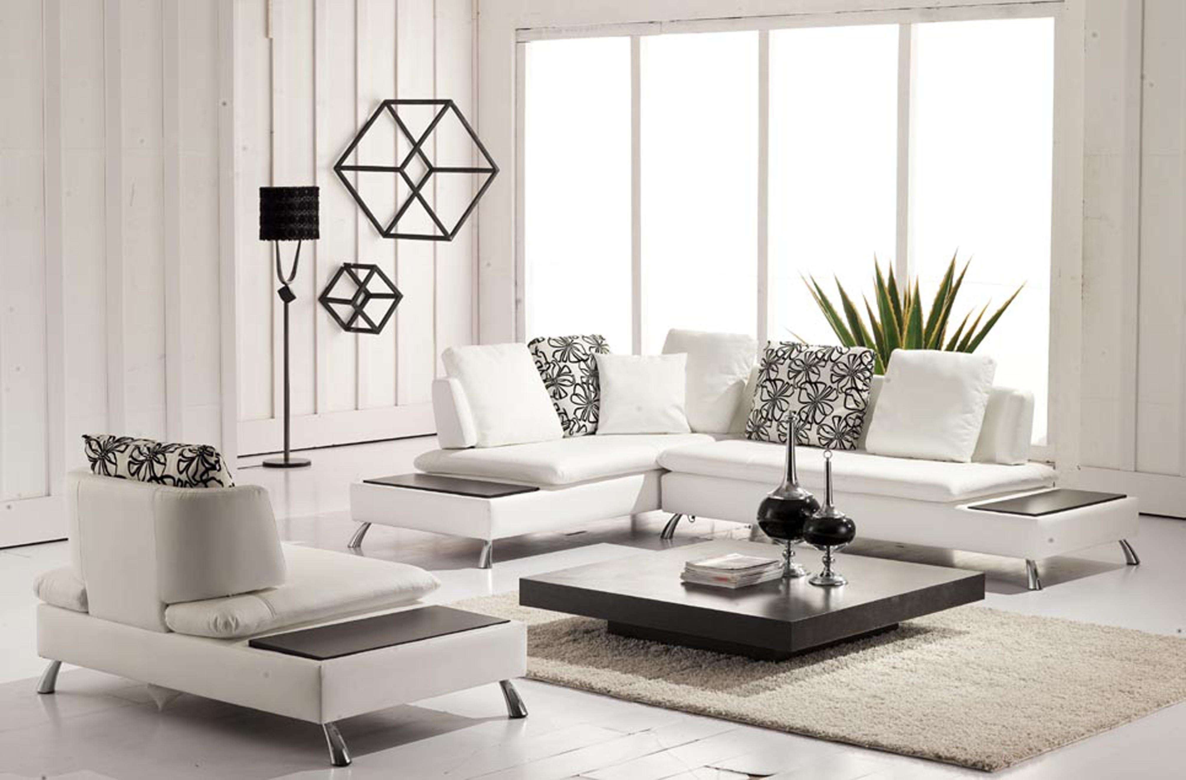 Contemporary Living Room Design White Leather