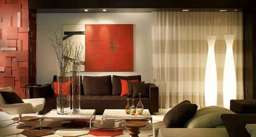 Contemporary Living Room Red Gray Decorations