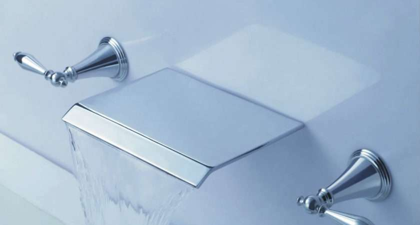Contemporary Waterfall Bathroom Sink Tap Wall Mount