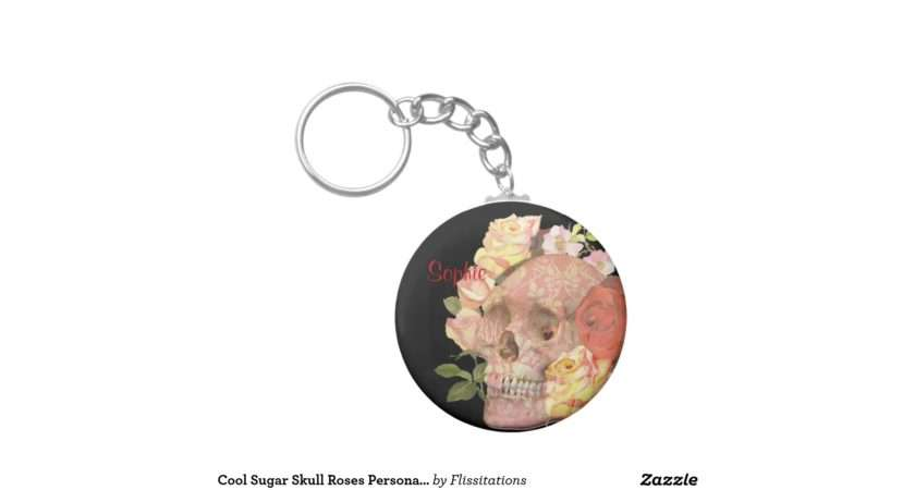 Cool Sugar Skull Roses Personalised Basic Round Button Key Ring