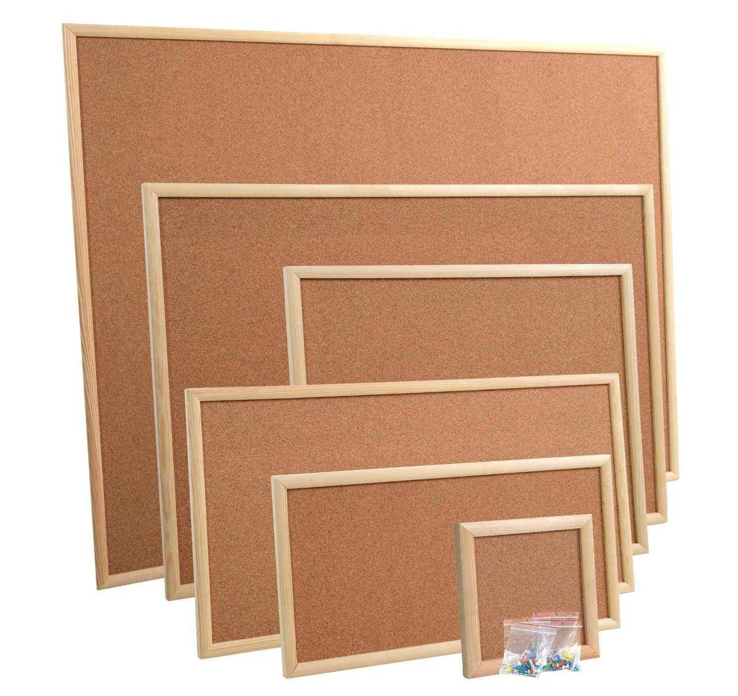 Cork Pin Message Notice Board Wooden Frame Office Memo