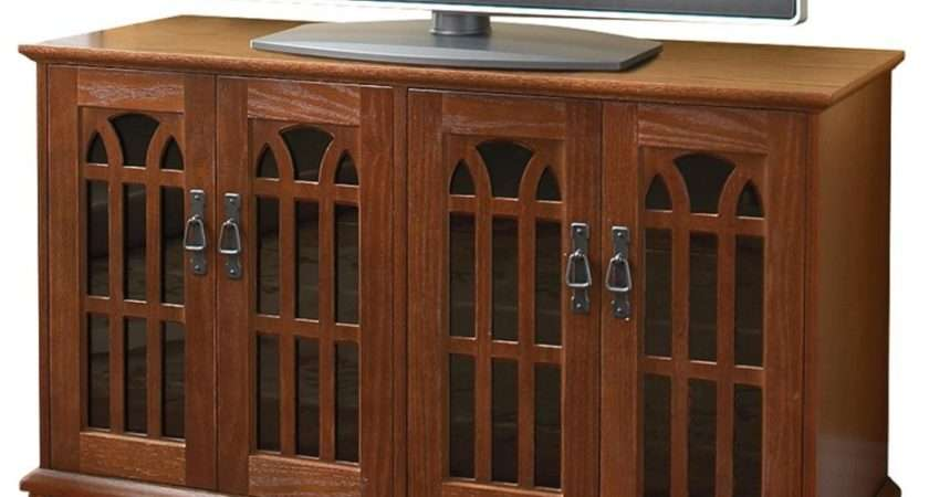 Corner Dark Brown Wooden Cabinet Double Glass Doors