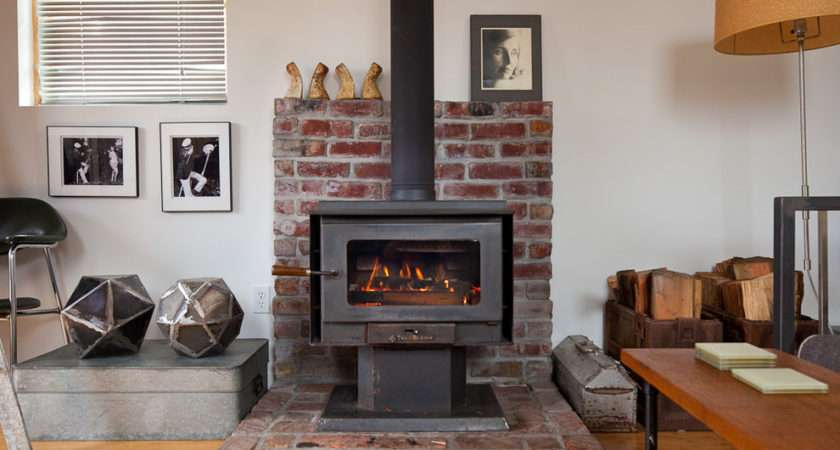 Corner Wood Burning Stove Living Room Eclectic