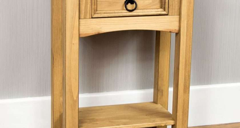 Corona Console Tables Drawer Shelf Solid Pine Wood