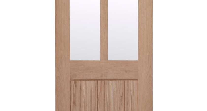 Cottage Panel Oak Veneer Glazed Internal Standard Door
