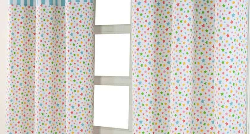 Cotton Multi Stars Ready Made Eyelet Curtain Pair Homescapes
