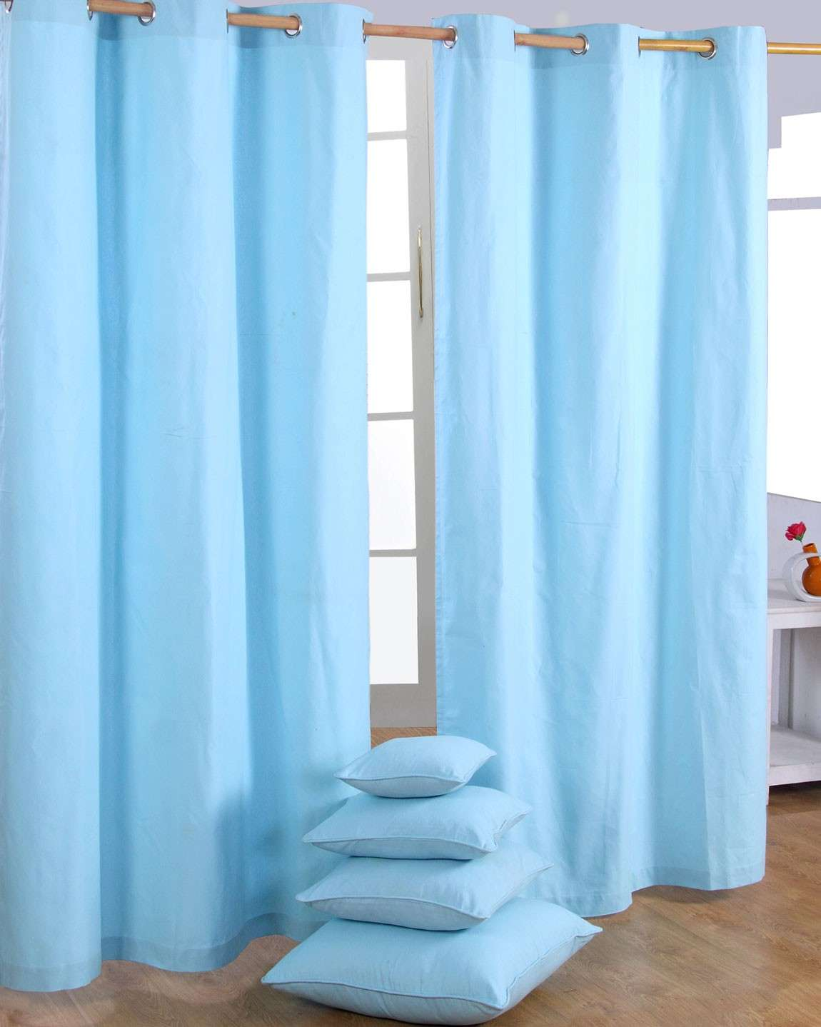 Cotton Plain Blue Ready Made Eyelet Curtain Pair Homescapes