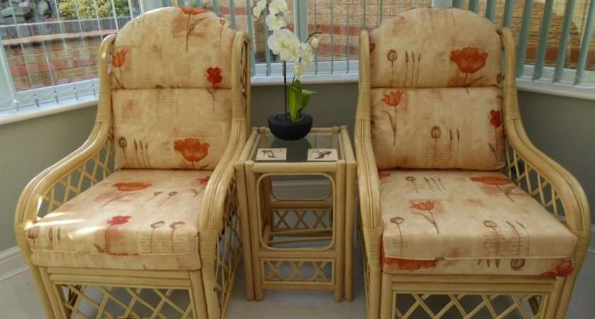 Country Cane Conservatory Furniture Piece Set Chairs
