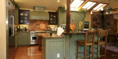 Country Green Kitchen Farmhouse Orange