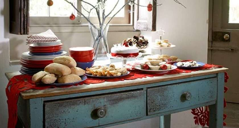 Country Style Buffet Lunch Table Christmas