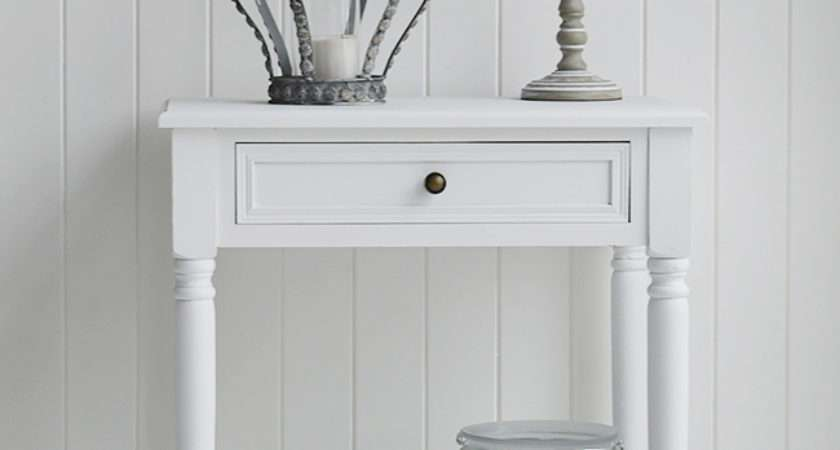 Cove Bay Small White Console Table Drawer Shelf