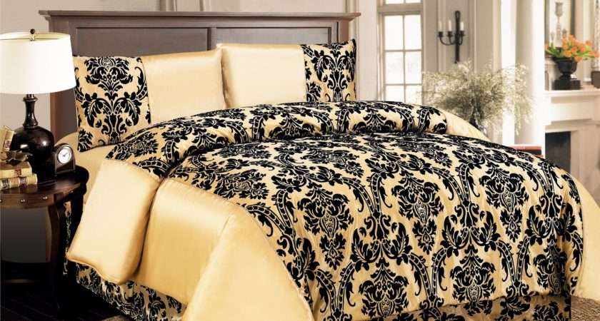 Cover Damask Quilted Luxury Bedding Comforter Set Bed Sheet