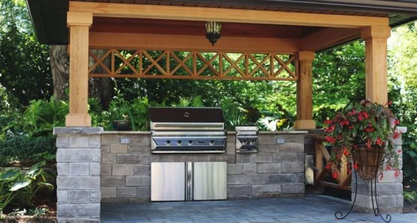 Covered Bbq Area Natural Stone Counters Traditional
