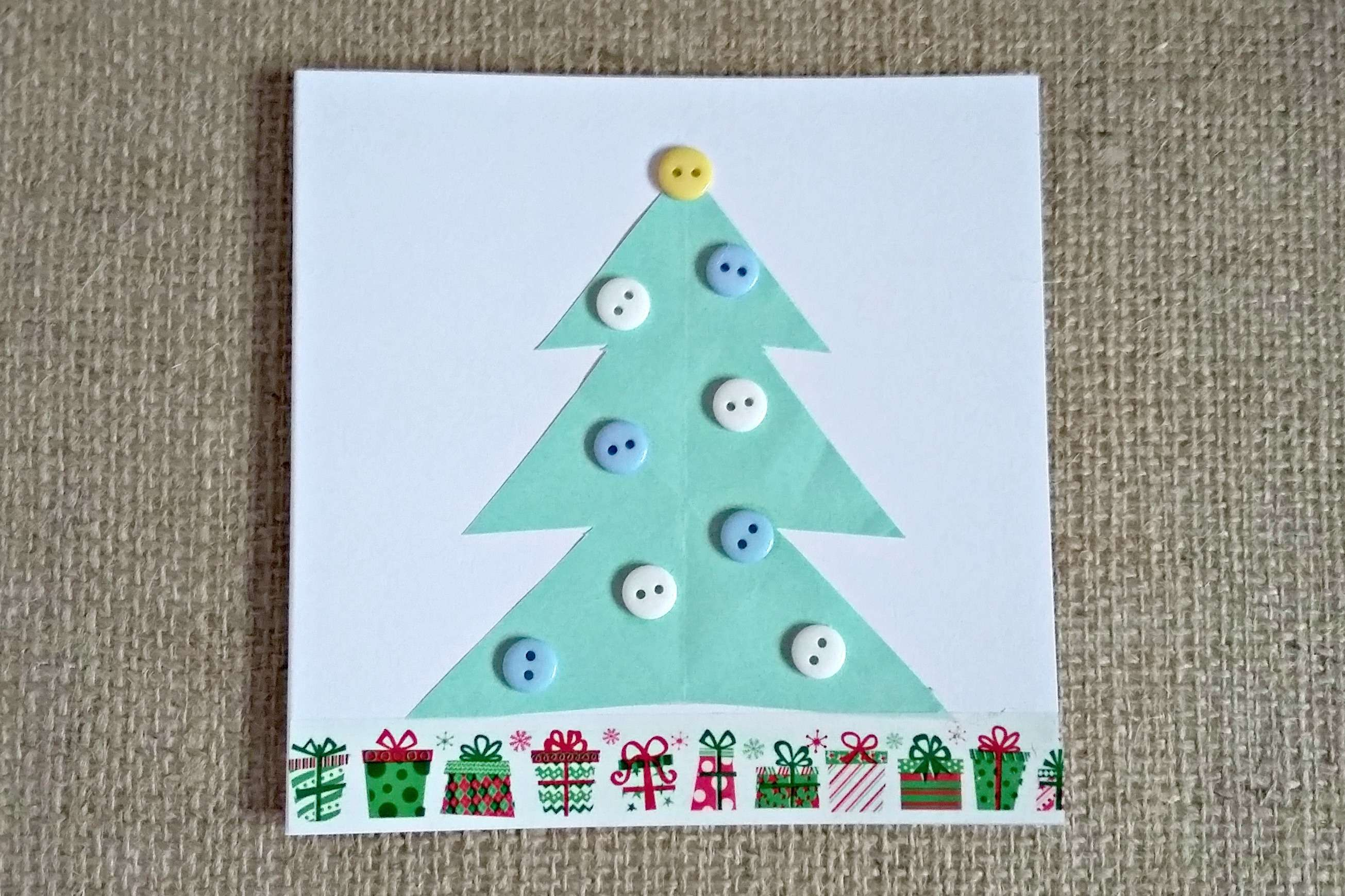 Craft Projects Handmade Button Christmas Cards Birch