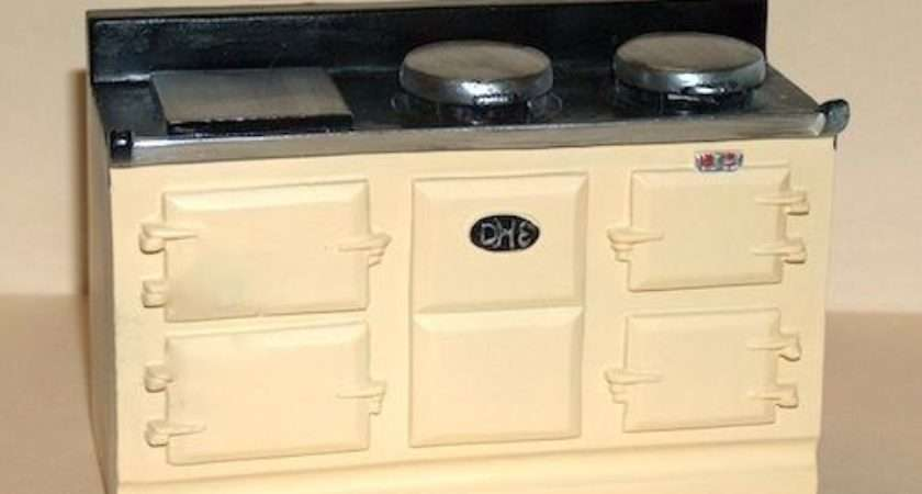 Cream Aga Stove Doll House Miniature Kitchen Furniture