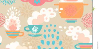 Creative Seamless Kitchen Pattern Cups