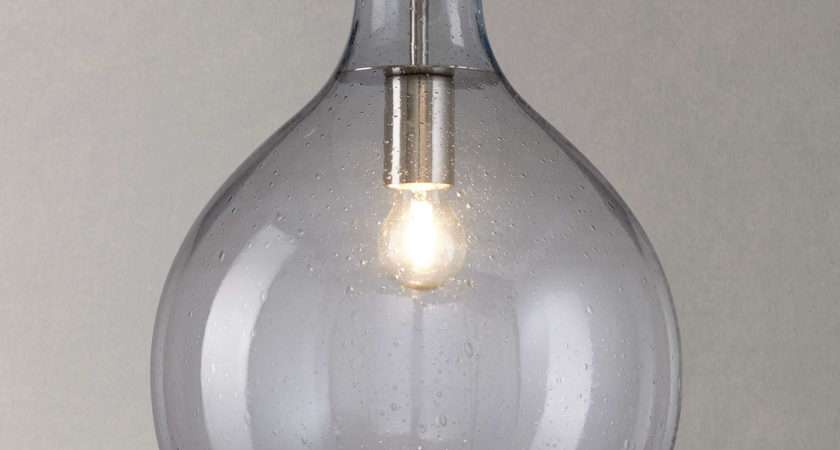 Croft Collection Selsey Glass Ceiling Pendant Light Blue