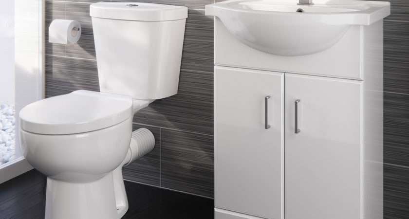 Crosby Toilet Quartz Basin Cabinet Set Gloss White