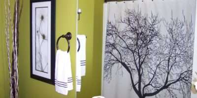 Curtain Green Bathroom White Tree Patterned Shower