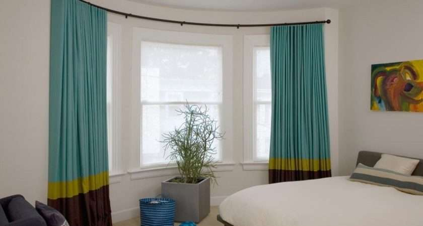 Curved Curtain Rods Bay Window Treatment Ideas