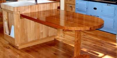Custom Cherry Trestle Style Penninsula Table Hard Maple Accents