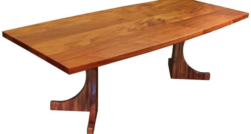 Custom Face Grain Jatoba Contemporary Trestle Style Table