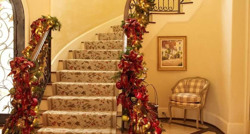 Custom Holiday Decorations Staircase Gold Red Design