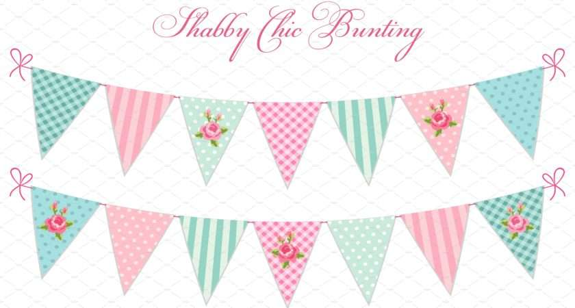 Cute Shabby Chic Bunting Flags Graphics Creative Market