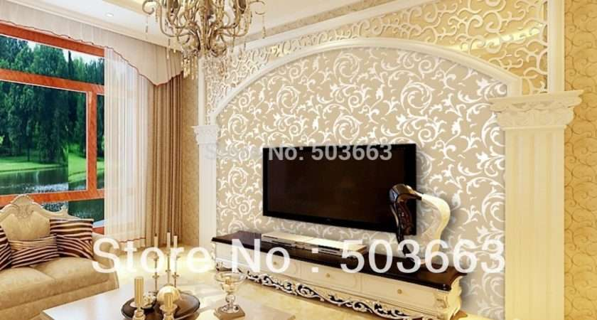 Damask Feature Wall Paper Roll Living Room Bedroom