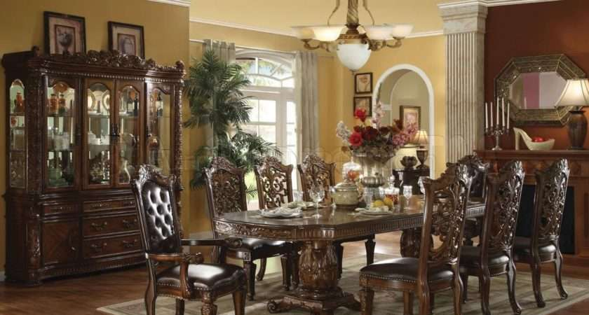 Dark Cherry Finish Vendome Formal Dining Room Table Options