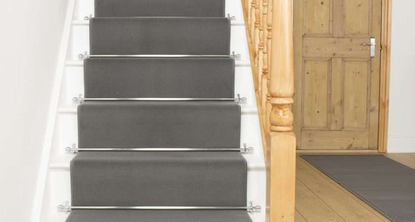Dark Grey Stair Runner Rug Plain