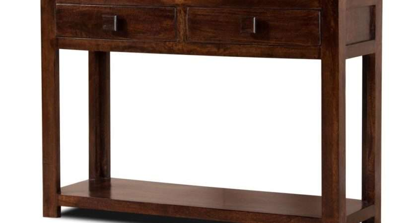 Dark Mango Hall Console Table Drawers Shelf Solid Indian Wood New
