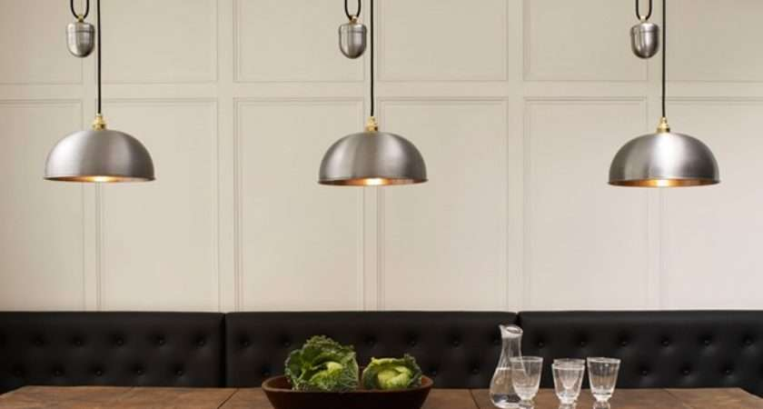 Davey Dome Rise Fall Pendant Brushed Steel Insitu