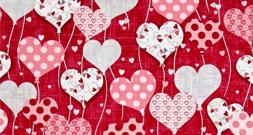 Dear Heart Balloon Hearts Red Discount Designer Fabric