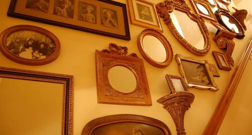 Decorating Staircase Walls Vintage Photos Mirrors