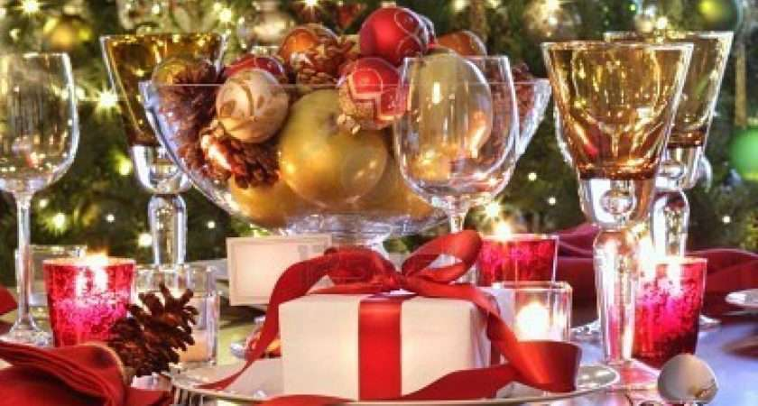 Decoration Ideas Red Gold Decor Christmas Dinning Table