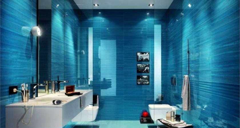 Deep Blue Walls Mixed Splashes White Give Bathroom