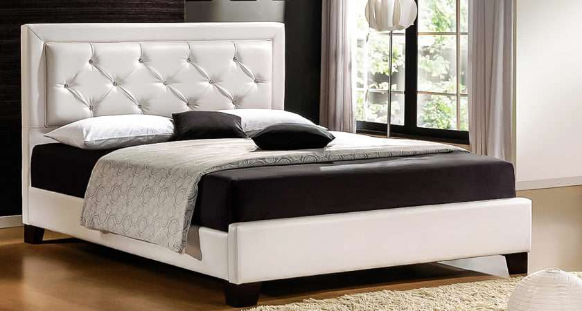 Design Couple Luxury Leather Queen Bed Frame White Zoom