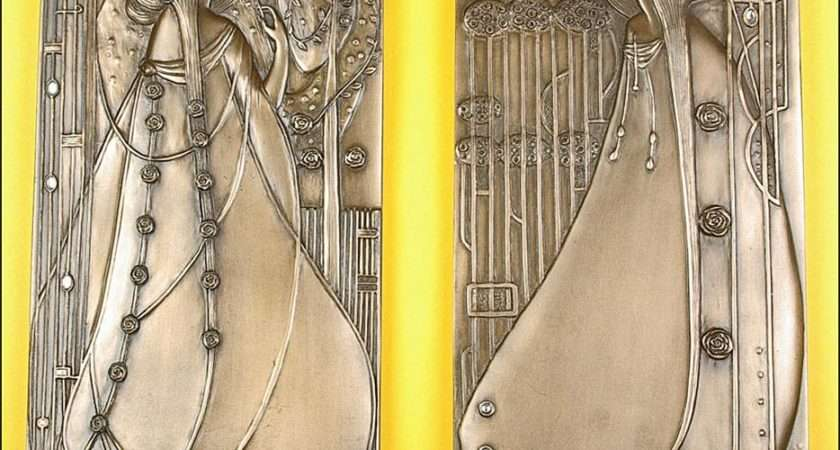 Details Pair Art Nouveau Wall Plaques Rennie Mackintosh
