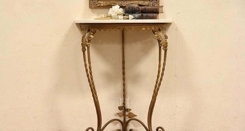 Details Wrought Iron Demilune Hall Console Table Onyx Top