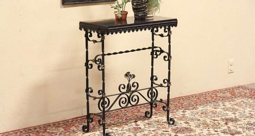 Details Wrought Iron Slate Hall Console Table