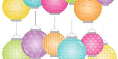 Digital Clipart Colorful Paper Lanterns Scrapbooking