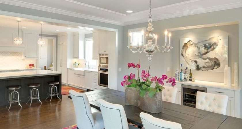 Dining Room Gray Tray Ceiling Alcove Built Sideboard Buffet Cabinet