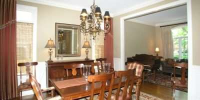 Dining Room Mix Match Chairs Custom Curtains Area Rug