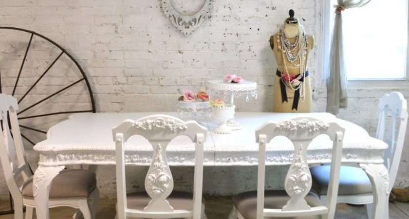 Dining Table Painted Cottage Chic Shabby White French