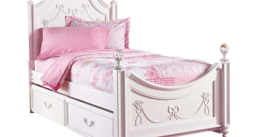 Disney Princess White Twin Poster Bed Trundle