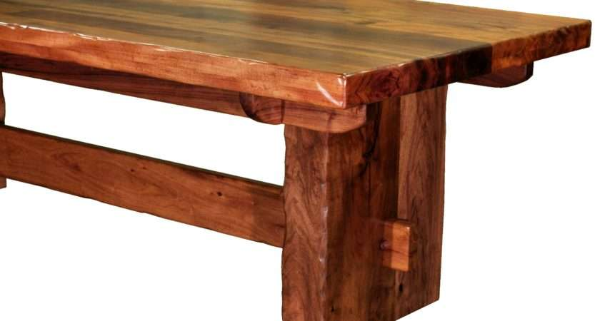 Distressed Face Grain Walnut Trestle Style Dining Table Mortise