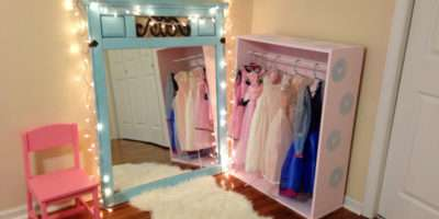 Diy Dress Area Closet Dressup Kids Storage Pink