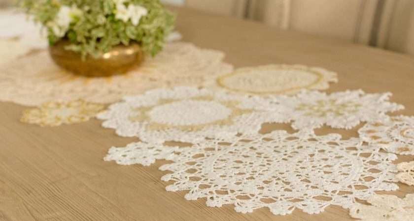 Diy Holiday Table Runner Vintage Gold Lace Hgtv