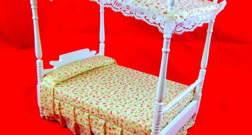 Dolls House Miniature Bedroom Furniture Poster White